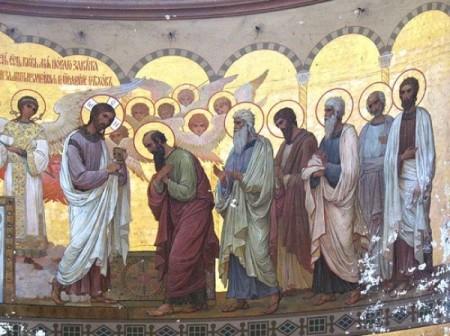 Христос причащает Апостолов. Фреска алтаря Ново-Афонского монастыря